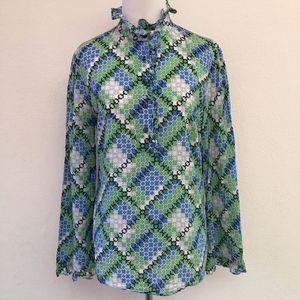 Tory Burch Long Sleeve Mock Neck Blouse Size 6